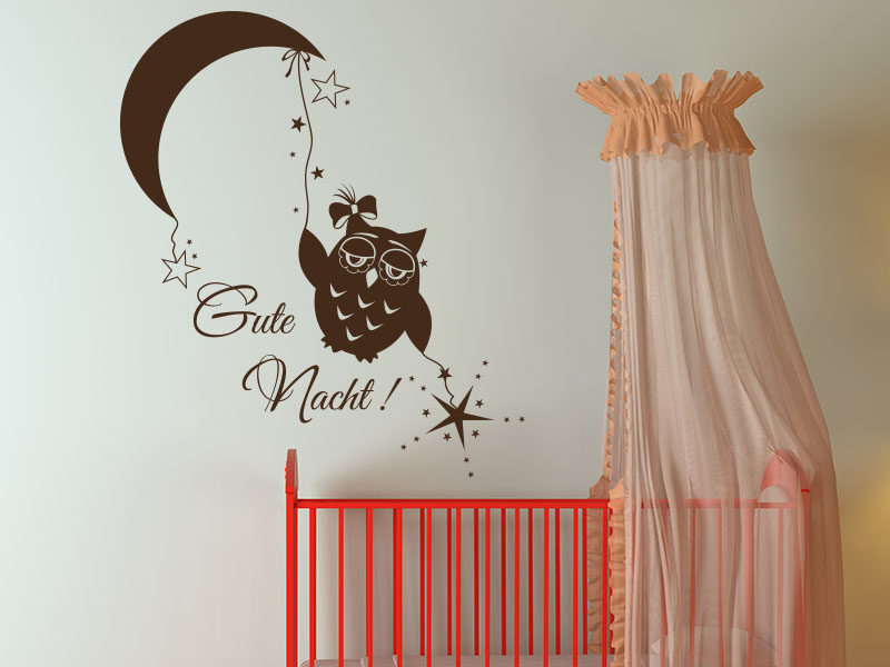 wandtattoos kinderzimmer gute nacht mit eule mond und sterne. Black Bedroom Furniture Sets. Home Design Ideas