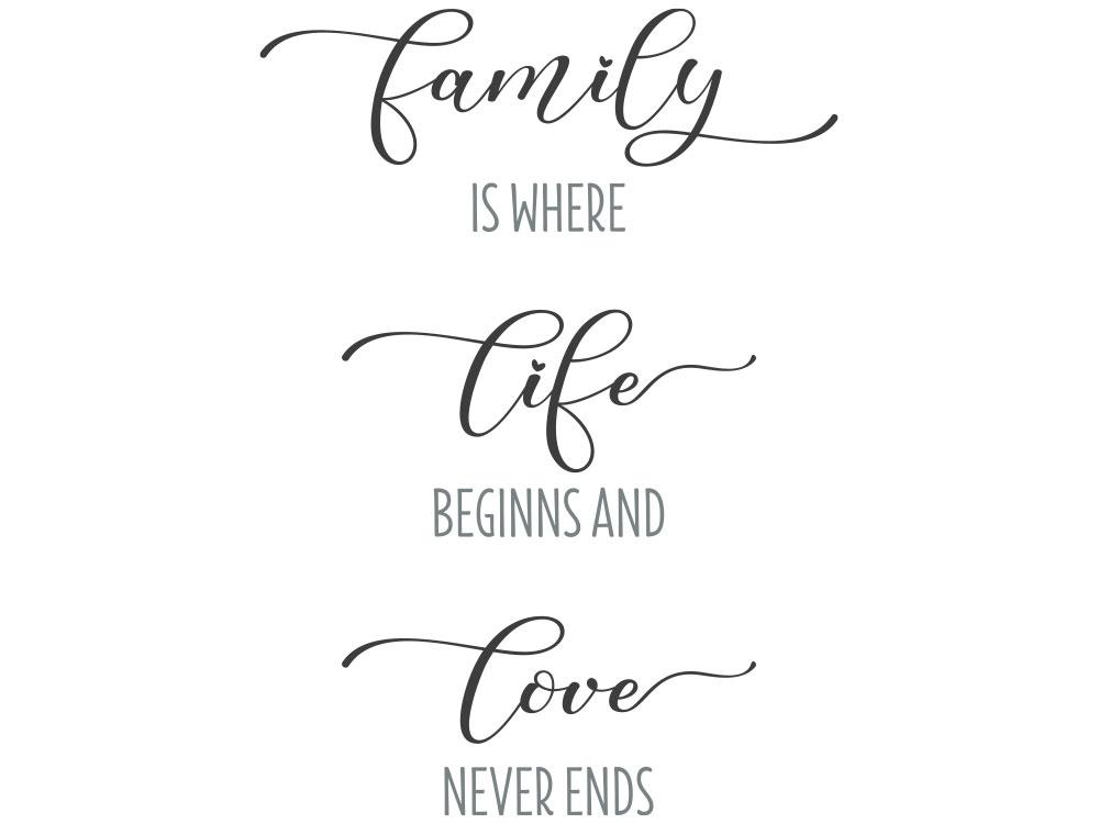Wandtattoo Family is where life beginns - Gesamtansicht des Wandtattoos