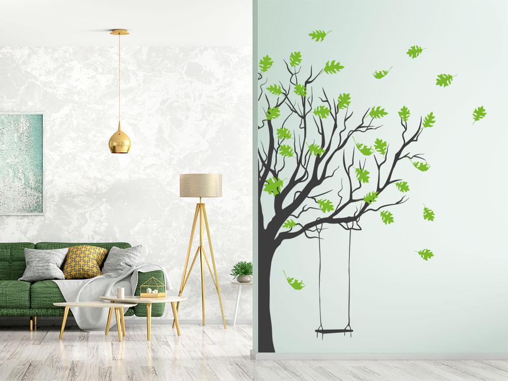 Wandtattoo Baum mit Schaukel und farbigen Blättern