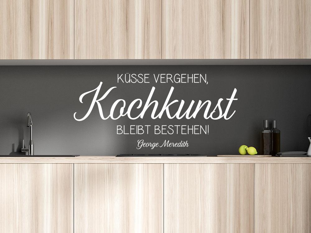Küchen Wandtattoo Küsse vergehen, Kochkunst bleibt bestehen.