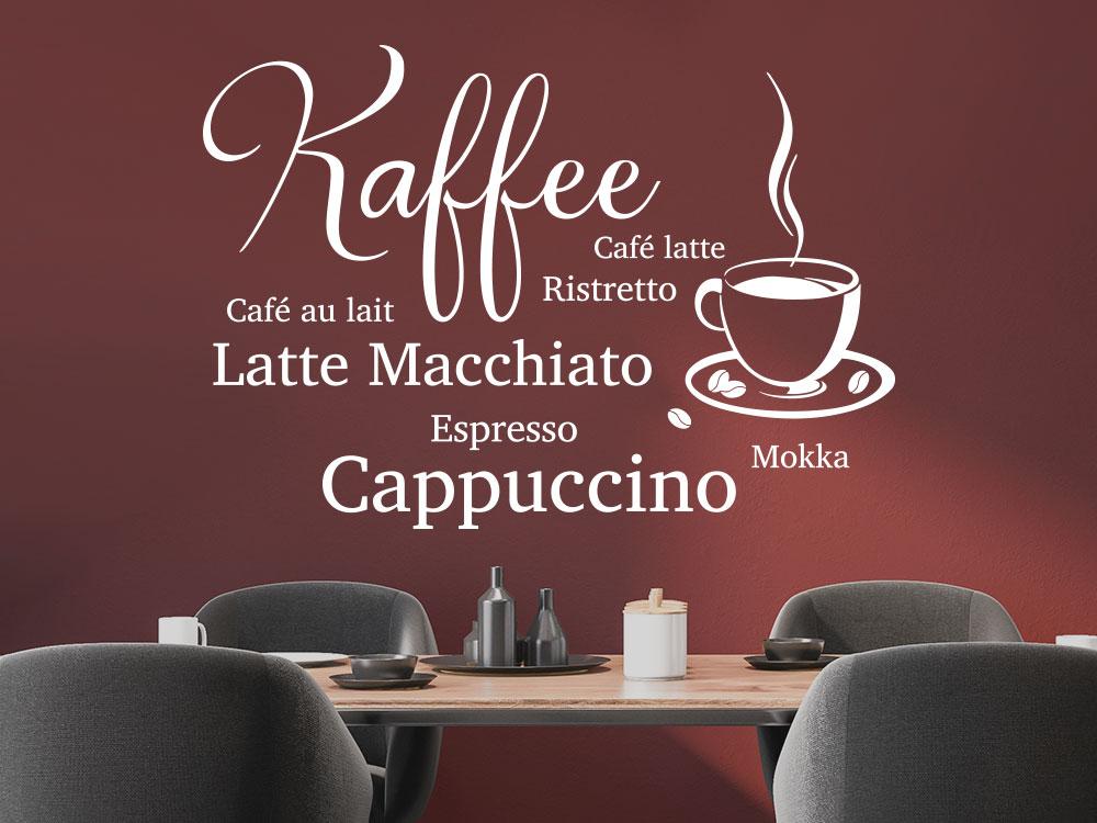 Elegantes Kaffee Wandtattoo Design mit Kaffeetasse und Kaffeebohnen