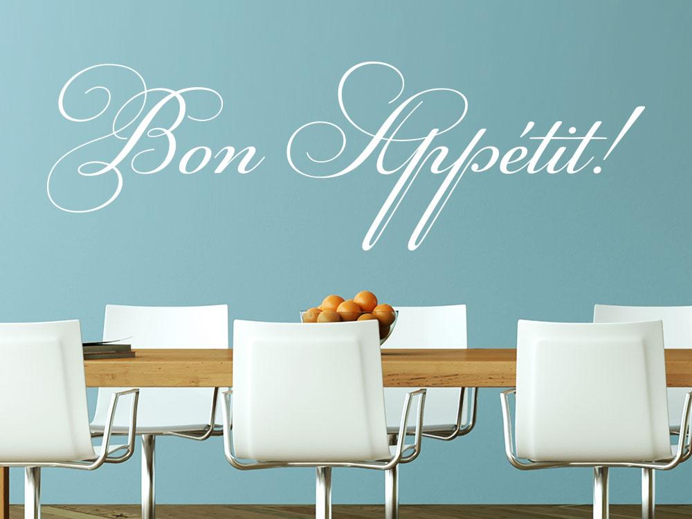 Wandtattoo Bon Appetit über Tisch im Esszimmer