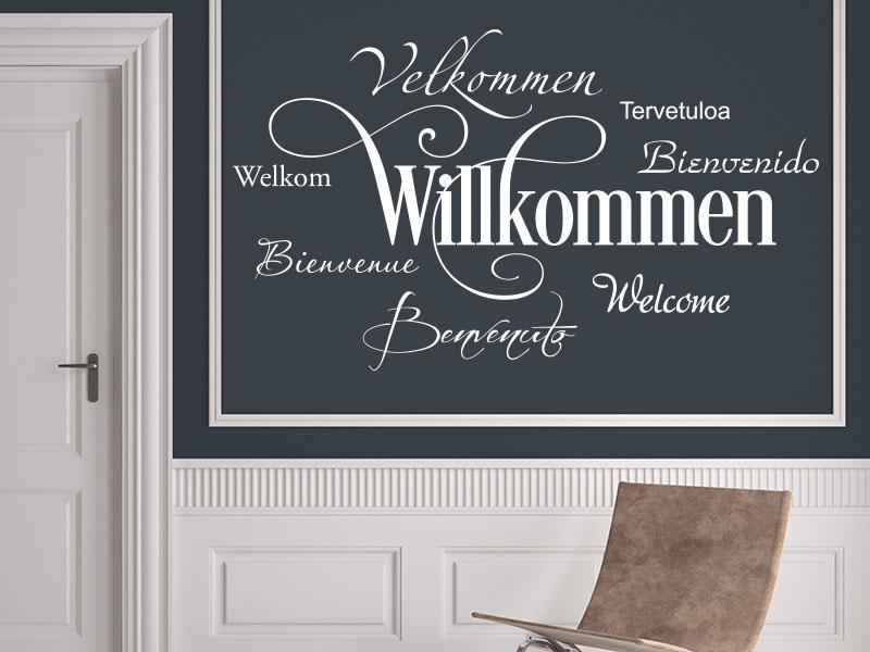 Wandtattoo-Willkommen in 8 Sprachen