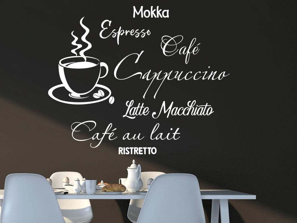 Wandtattoo Café Wortwolke mit Tasse