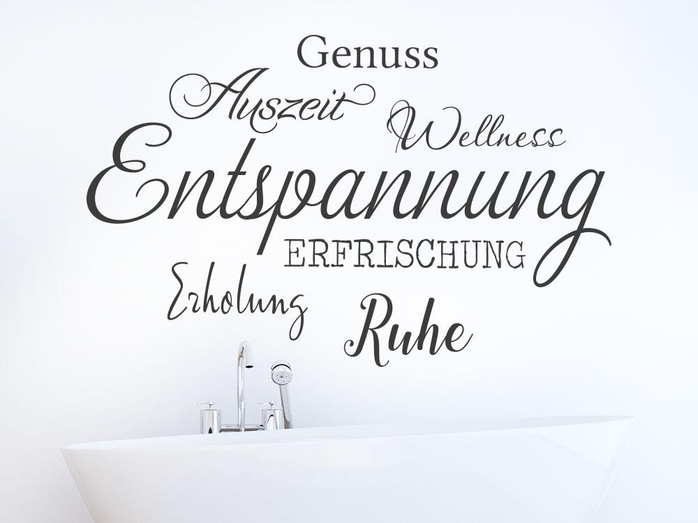 Wandtattoo Entspannung Wortwolke auf heller Wand