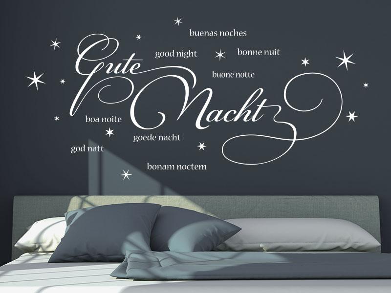 wandtattoo gute nacht international von klebeheld. Black Bedroom Furniture Sets. Home Design Ideas