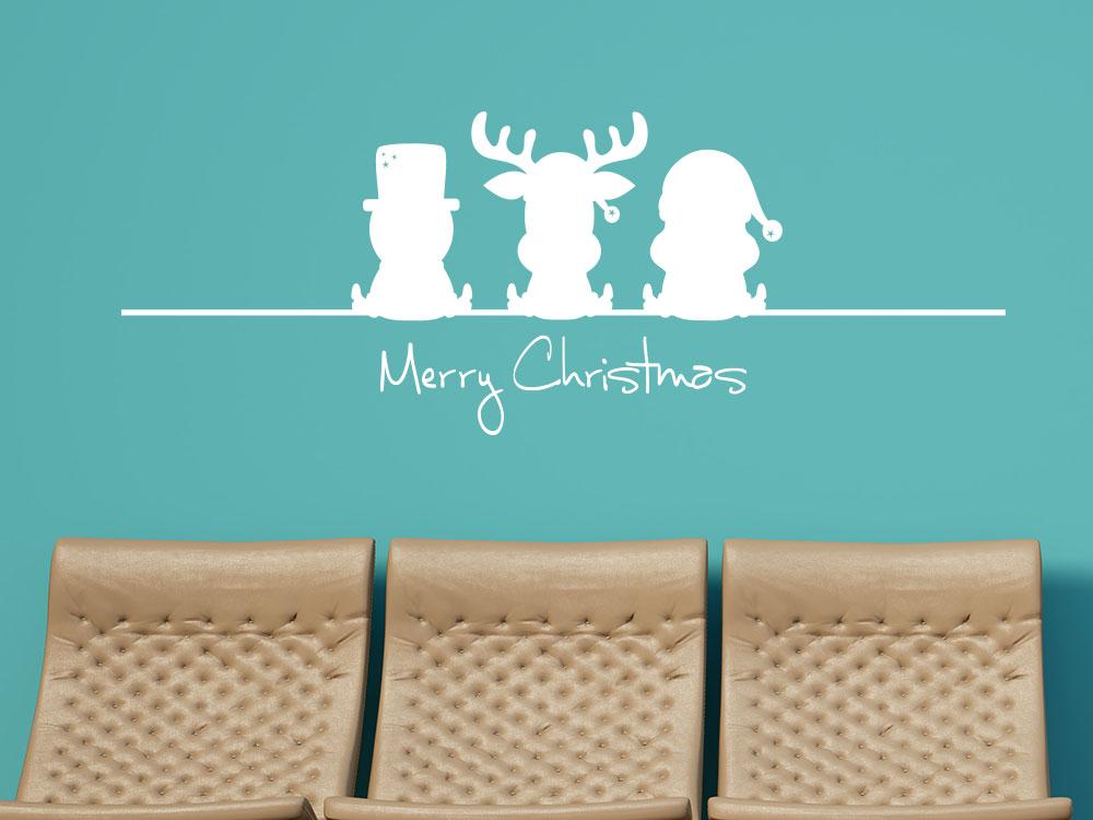 Wandtattoo Lustiger Elch Weihnachtsmann Schneemann in Weiß auf dunkler Flurwand