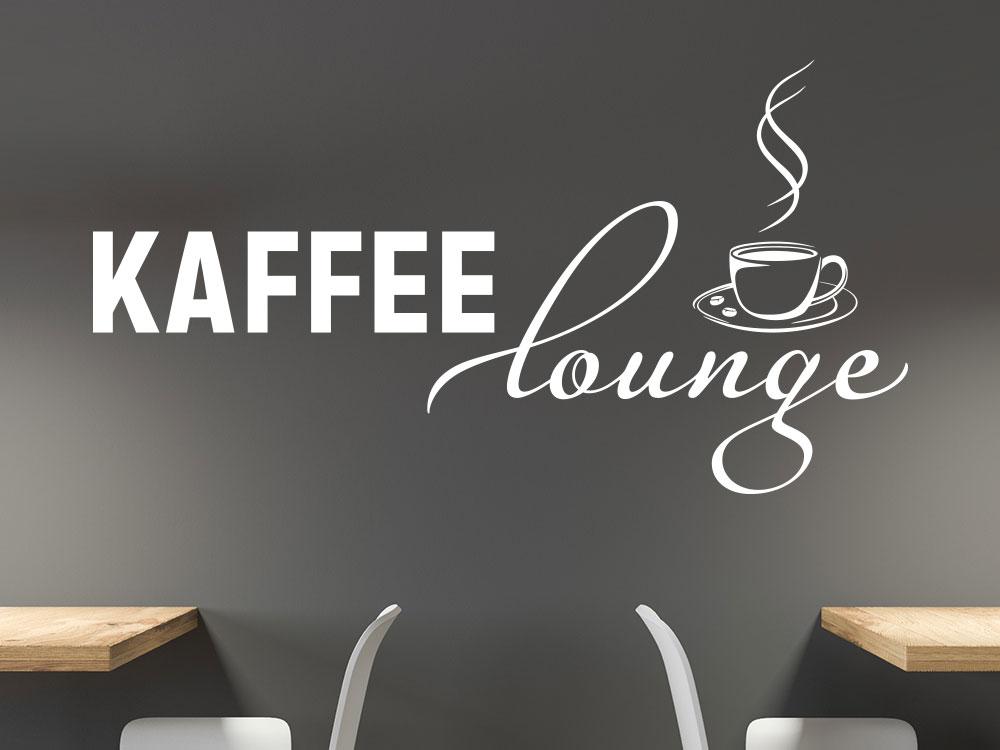 Wandtattoo Kaffee Lounge mit Kaffeetasse in Wohnküche