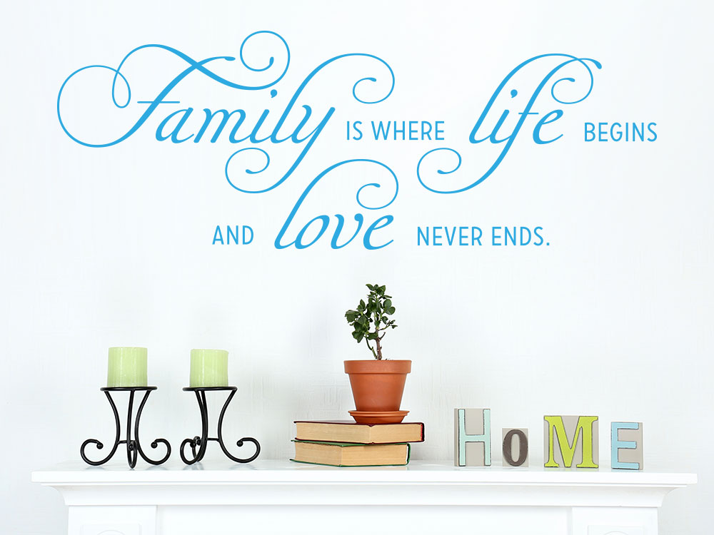 Wandtattoo Spruch Family is where live begins and love