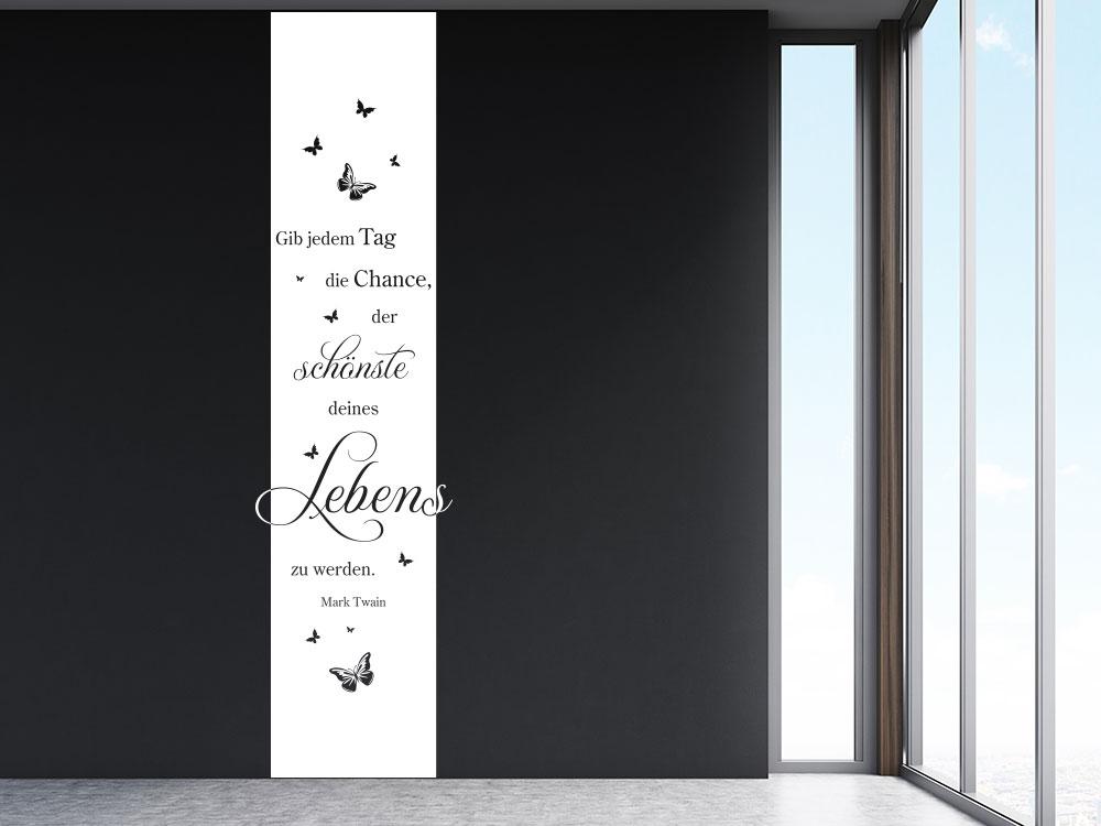 Gib jedem Tag mit Schmetterlinge Wandtattoo Banner in Farbe Weiß