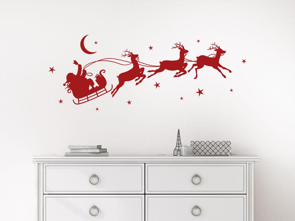Wandtattoo Weihnachtsschlitten mit Santaclaus und Rentieren