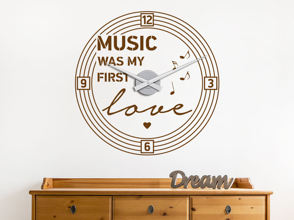 Music was my first love Wandtattoo Uhr