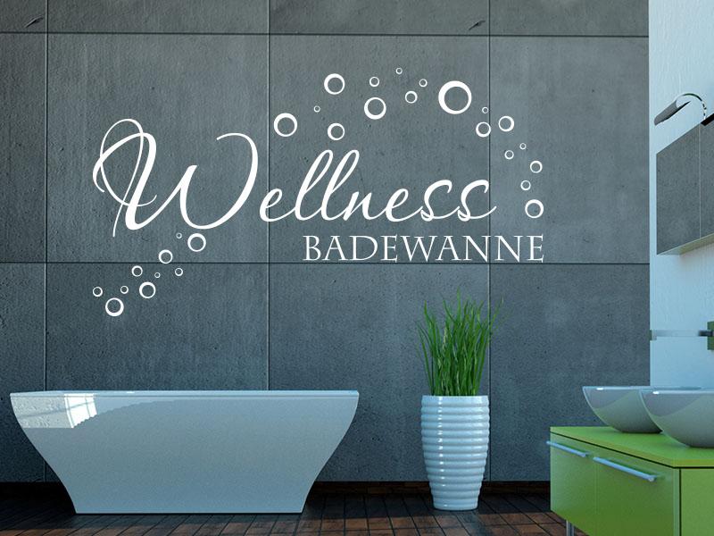 Wandtattoo Badezimmer -Wellness Badewanne mit Wandtattoos