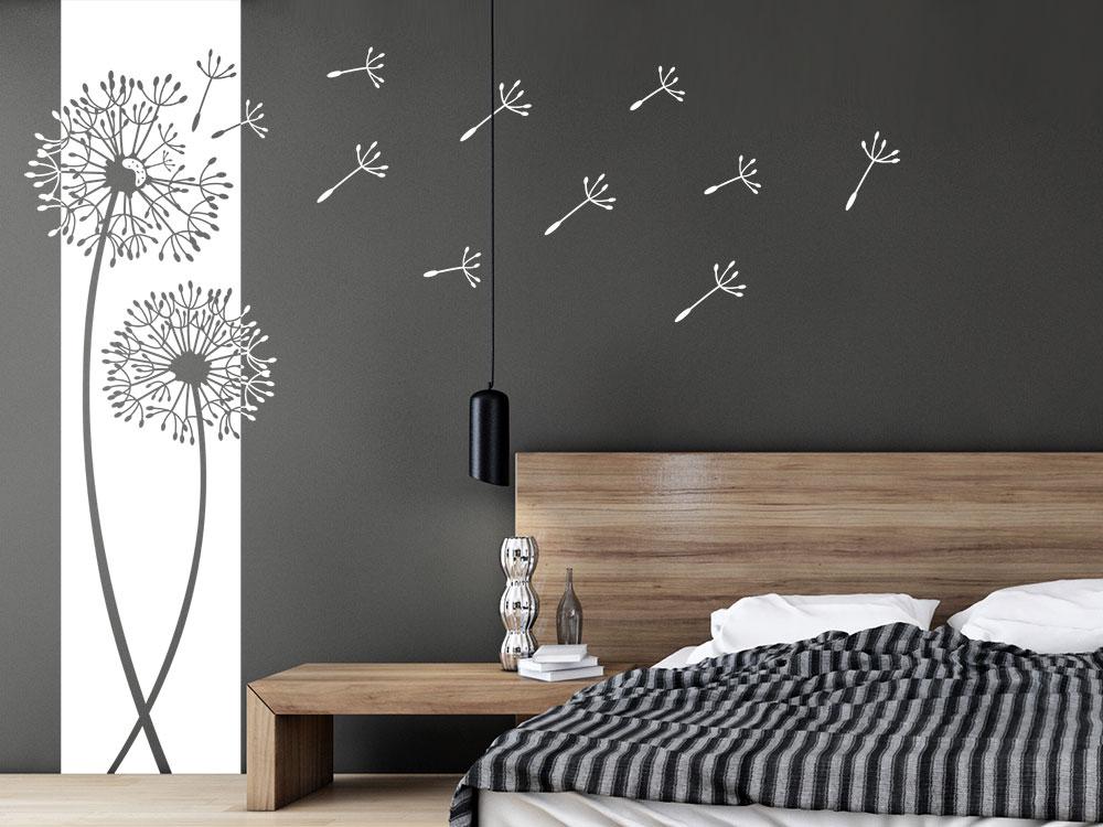 Pusteblumen Wandtattoo Banner im Schlafzimmer