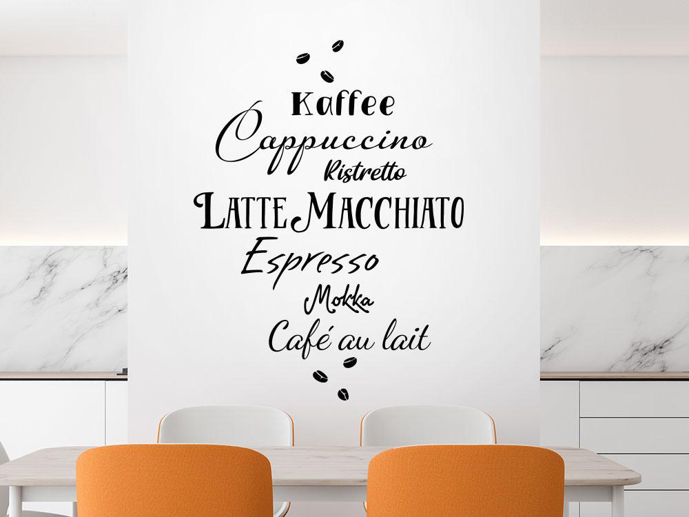 Wandtattoo Kaffeesorten mit Bohnen