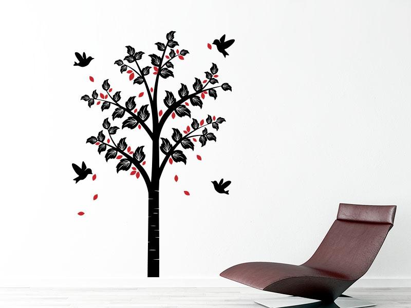 Wandtattoo Zweifarbiger Frühlingsbaum