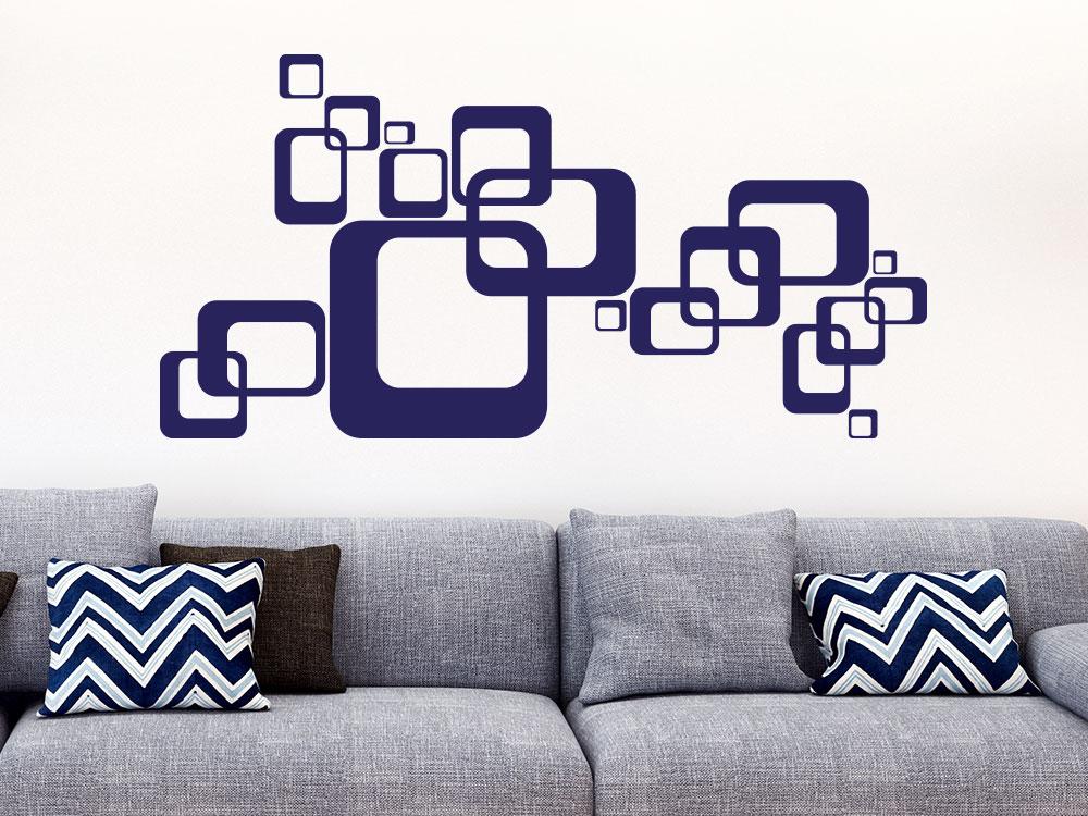 Wohnzimmer Wandtattoo Retro Cubes auf heller Wand