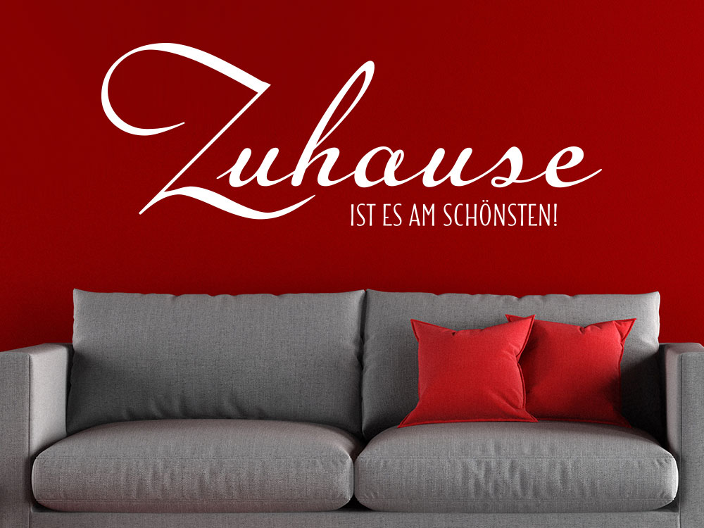 Wandtattoo Spruch Zuhause ist es am schönsten auf roter Wohnzimmerwand