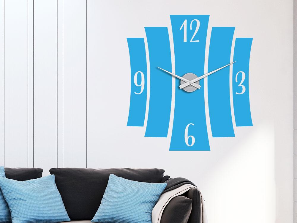 Wandtattoo Uhr gebogene Streifen in Farbe Lichtblau