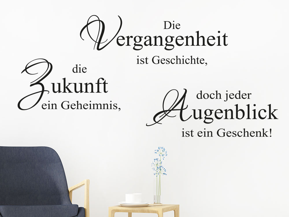 Wandtattoo Spruch Die Vergangenheit ist… im Wohnzimmer