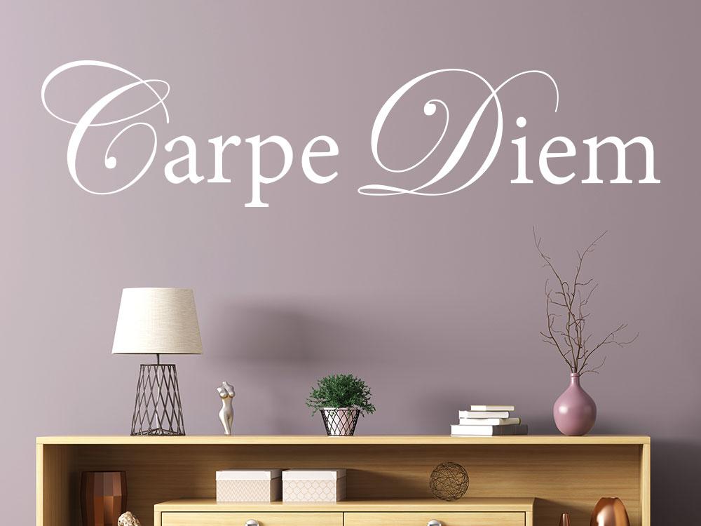 Stilvoller Wandtattoo Carpe Diem Schriftzug in Weiß