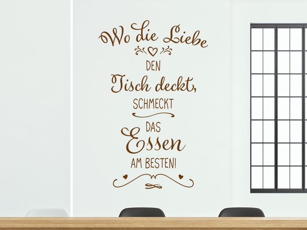 Wandtattoo Wo die Liebe den Tisch deckt… im Esszimmer neben Fenster