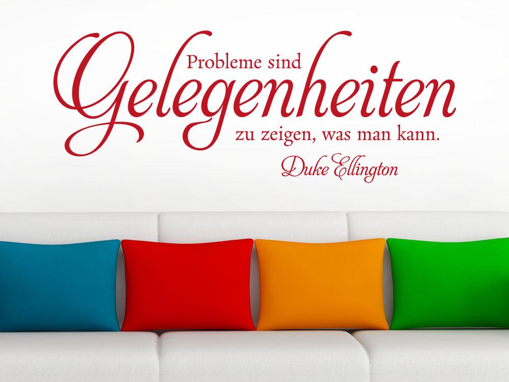 Wandtattoo Probleme sind Gelegenheiten Zitat im Wohnzimmer über Sofa