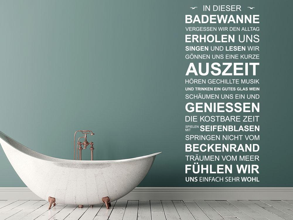Wandtattoo Spruchband In dieser Badewanne