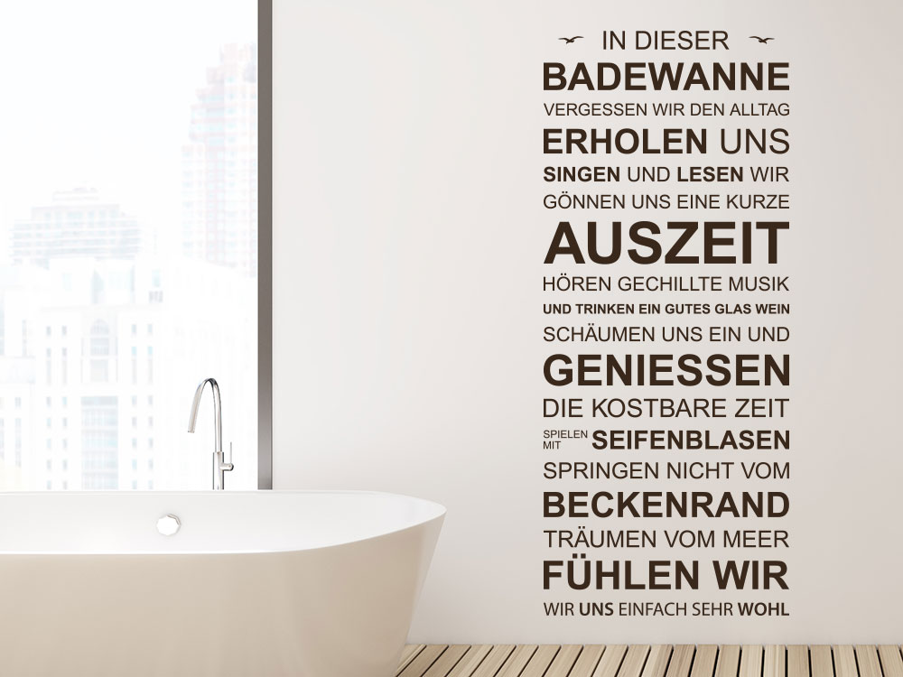 Wandtattoo Banner In dieser Badewanne im Badezimmer
