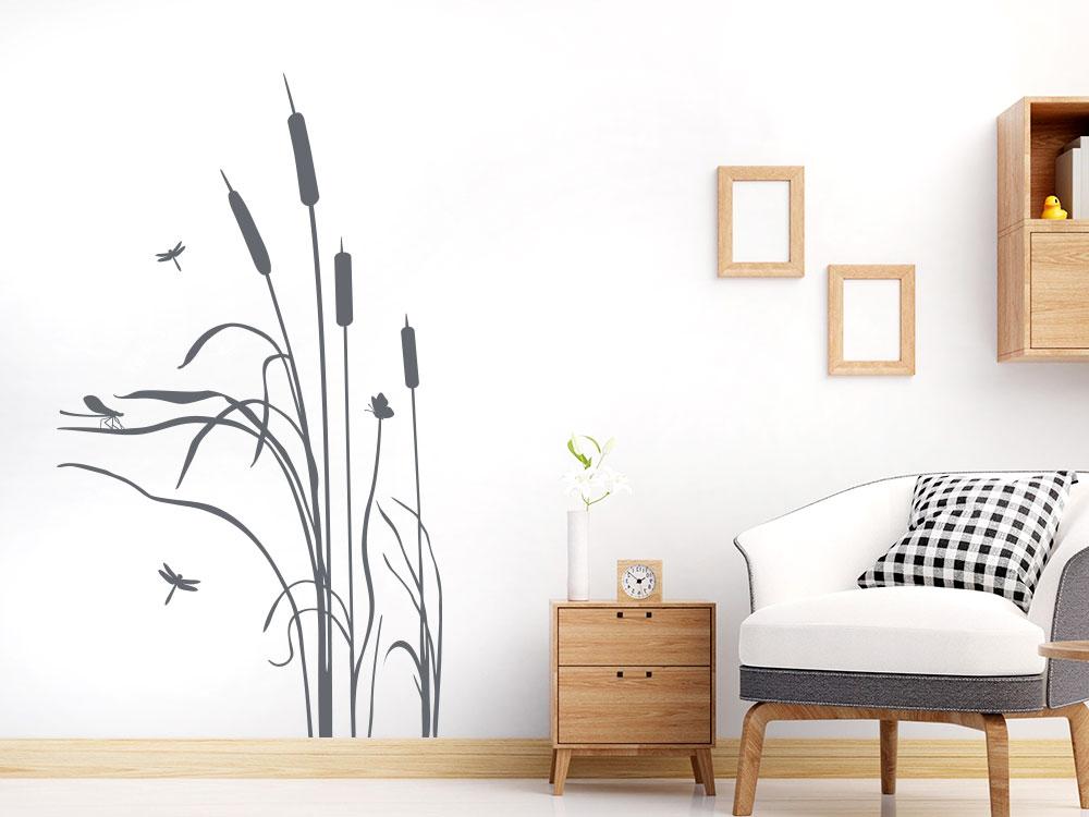 Wandtattoo Schilf mit Libellen auf heller Wand