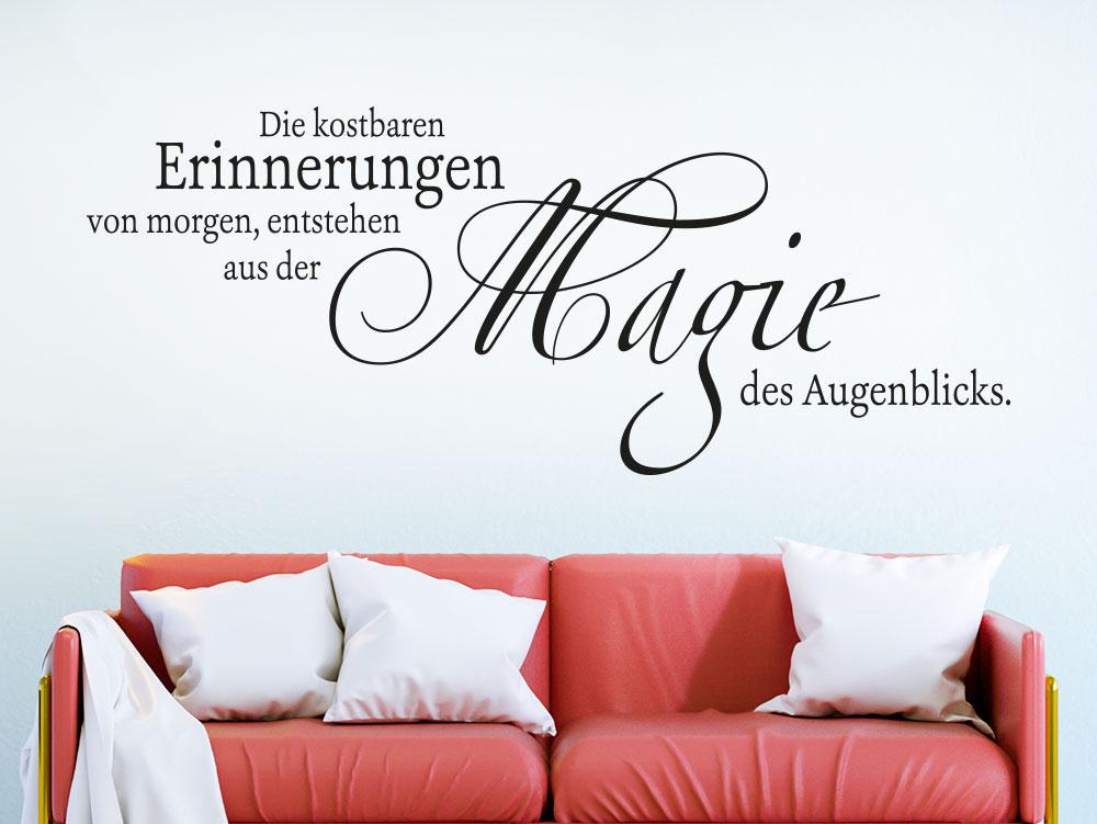 Wandtattoo Die kostbaren Erinnerungen von morgen über Sofa im Wohnzimmer
