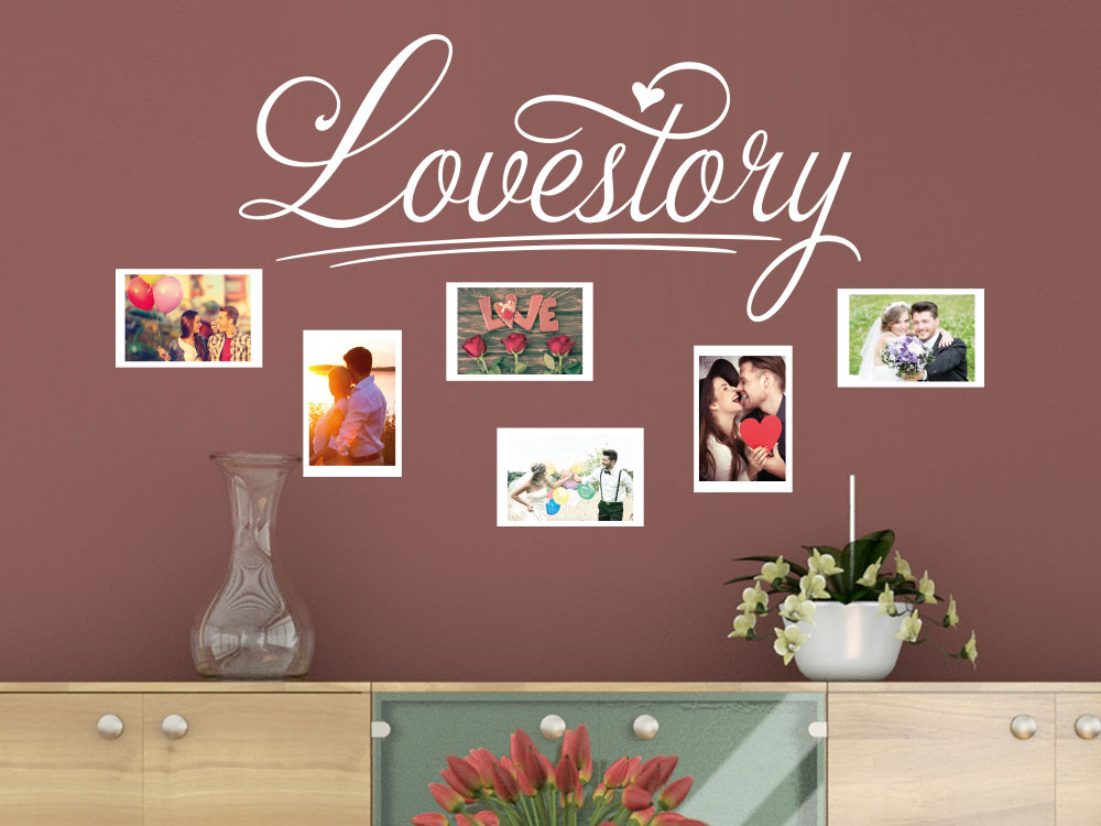 wandtattoo lovestory fotorahmen von klebeheld de. Black Bedroom Furniture Sets. Home Design Ideas