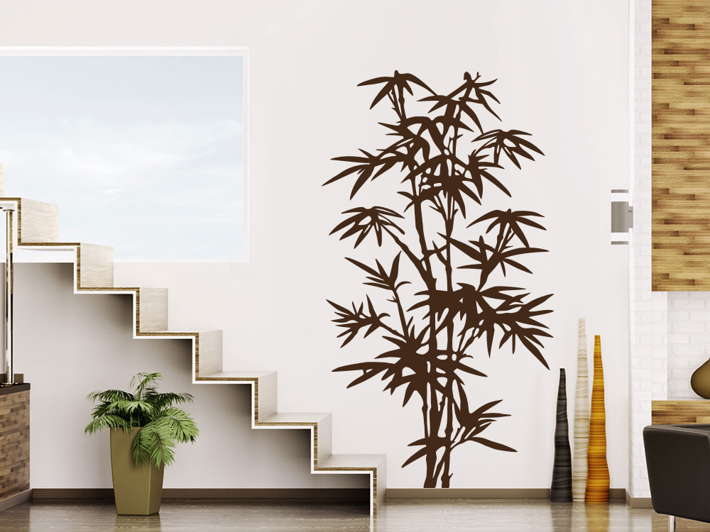 Wilder  Wandtattoo Bambus im Flur neben Treppe