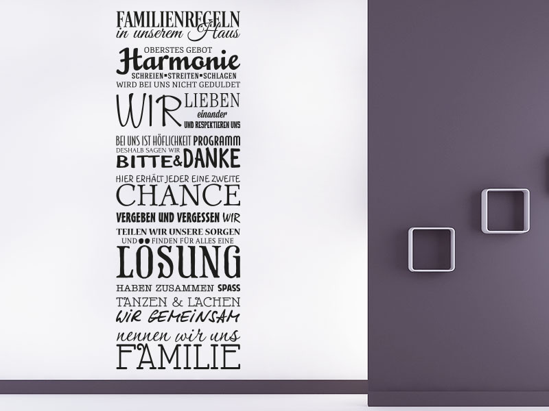 Wandtattoo Familienregeln