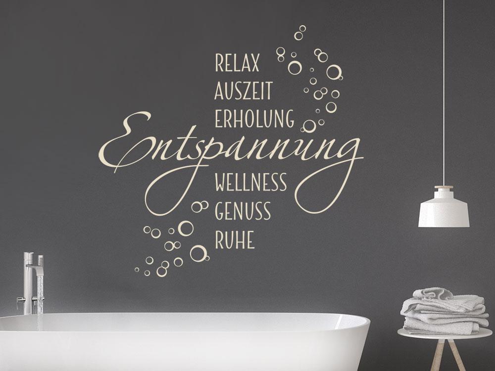Wandtattoo Wellness Worte mit Seifenblasen