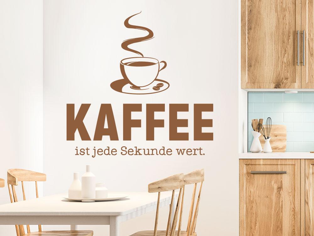 Küchen Wandtattoo Kaffee ist jede Sekunde wert