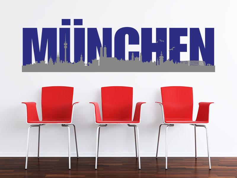 Wandtattoo Skyline München zweifarbig
