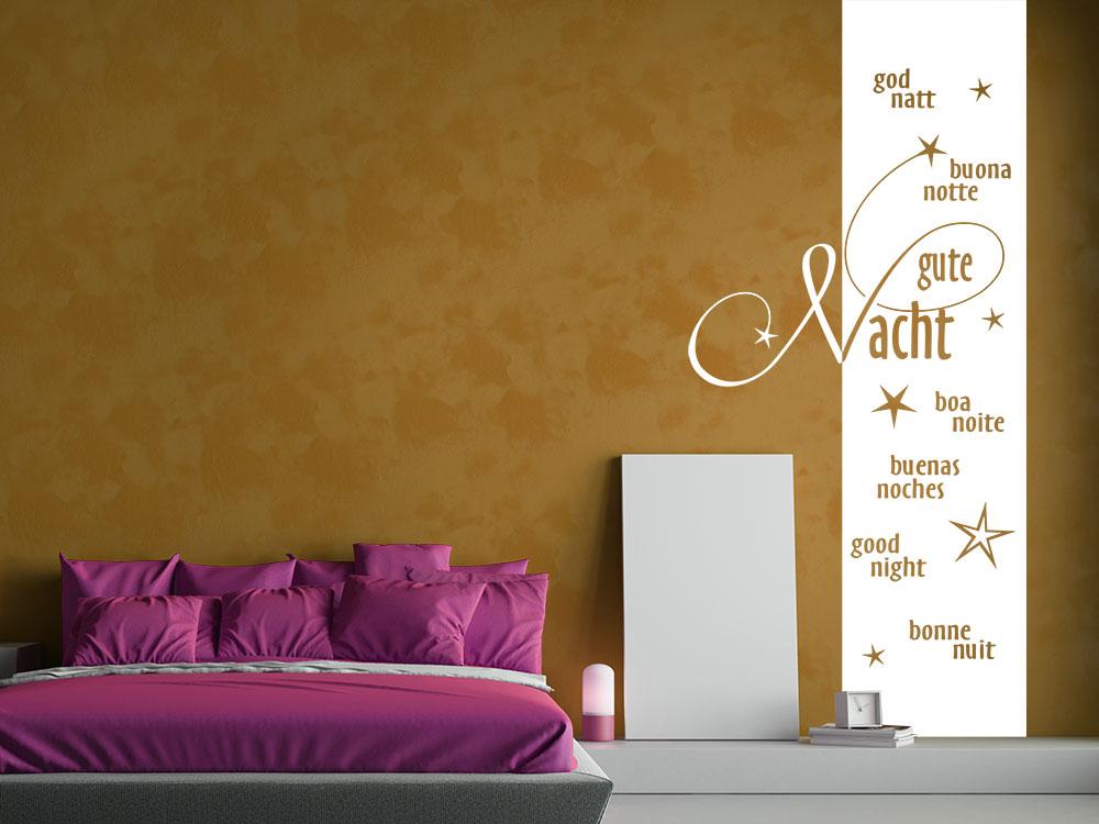 Wandtattoo Wandbanner Gute Nacht in 7 Sprachen im Schlafzimmer in weiß