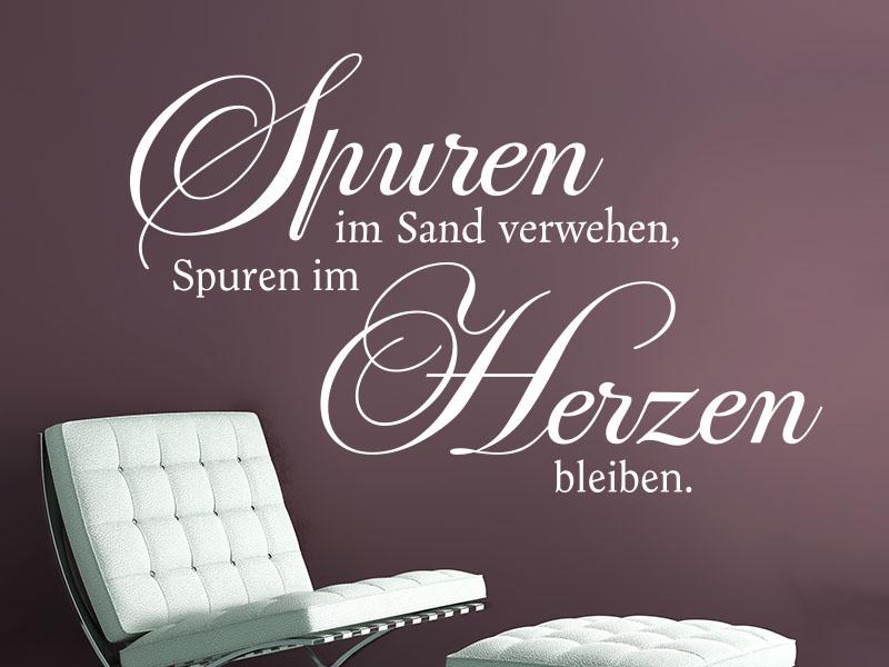 Wandtattoo Spruch Spuren im Sand verwehen, Spuren im Herzen bleiben.