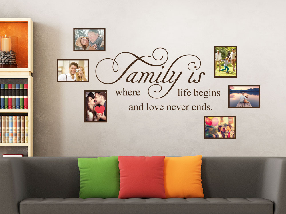 Wandtattoo Fotorahmen Family is where life begins