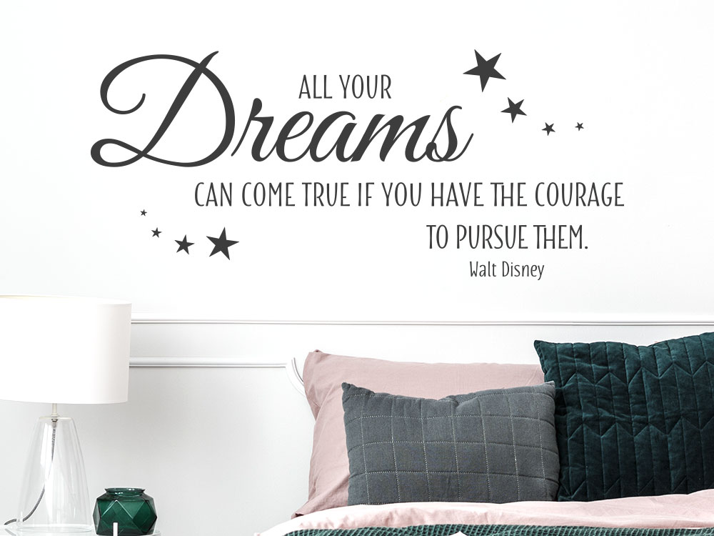 Wandtattoo Spruch All your dreams can come true… im Schlafzimmer