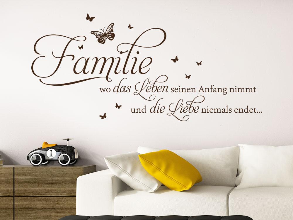 Wandtattoo Spruch Wo das Leben im Wohnzimmer
