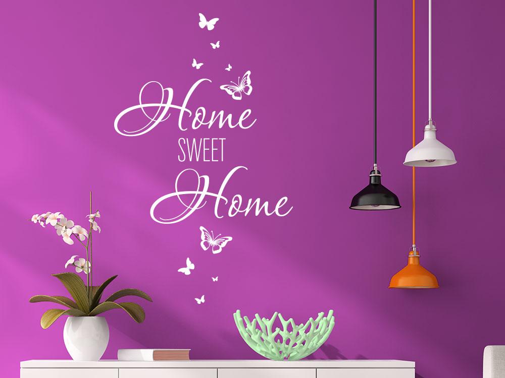 Wandtattoo Home sweet Schmetterlinge in der Farbe Weiß