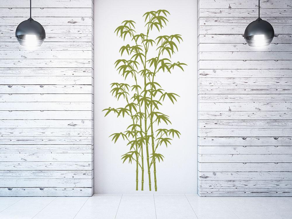 Bambus Wandtattoo Deko auf heller Wand im Flur