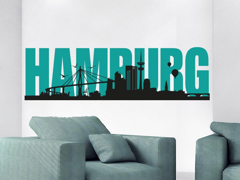 Wandtattoo Skyline Hamburg zweifarbig