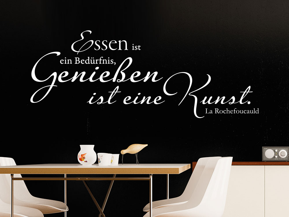 wandtattoo essen ist ein bed rfnis genie en ist eine kunst. Black Bedroom Furniture Sets. Home Design Ideas