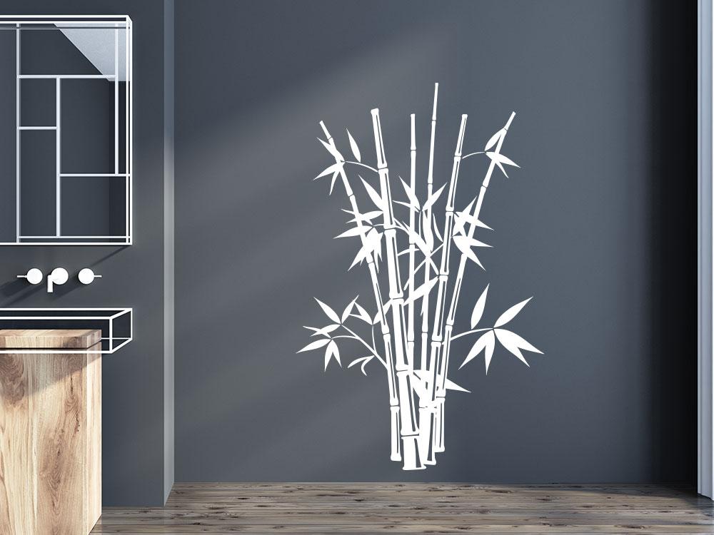 Wandtattoo Bambus Busch mit Bambusstangen im Badezimmer