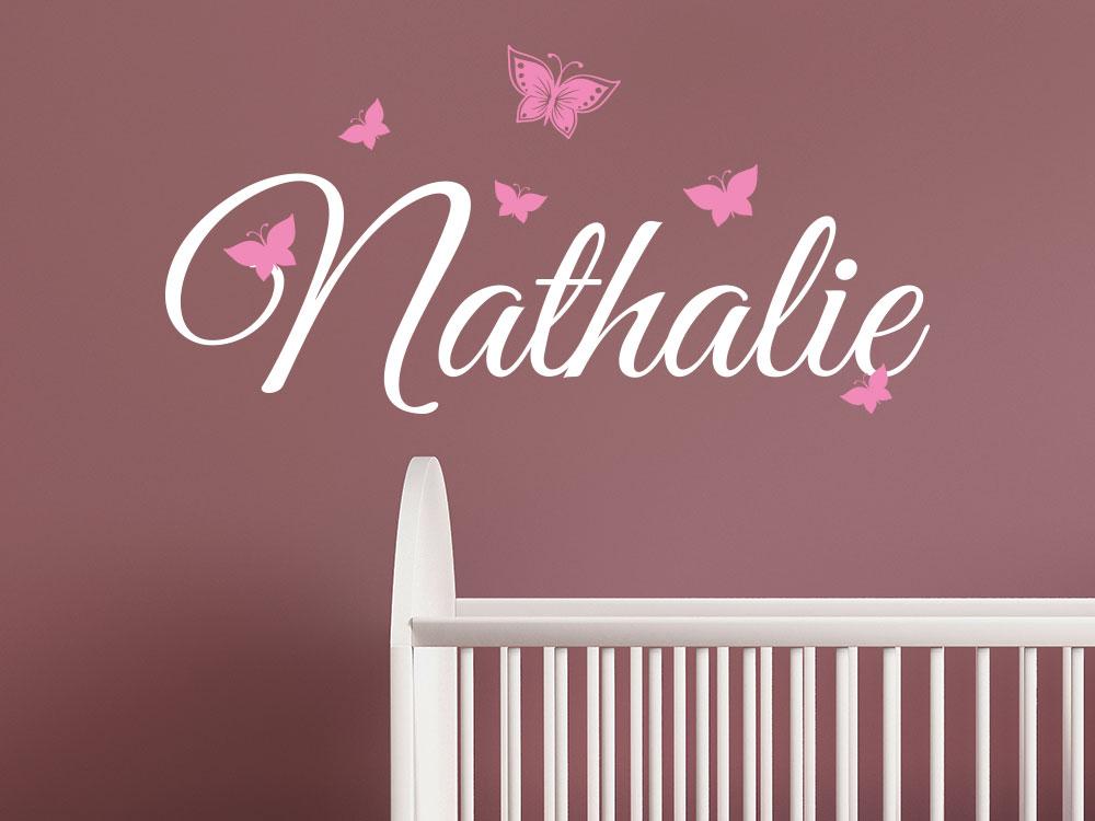 Wandtattoo Name mit Schmetterlinge Mädchenname in weiß