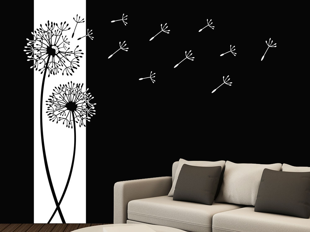 Wandbanner Pusteblumen Wandtattoo auf dunkler Wand in Weiß