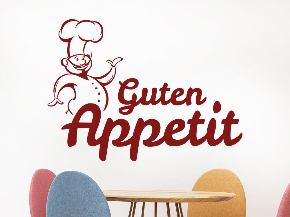 Guten Appetit Wandtattoo mit Koch in der Farbe dunkelrot